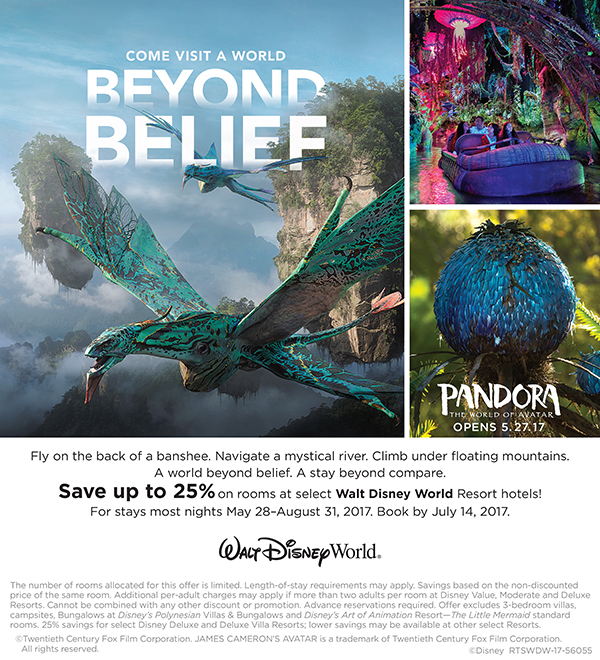 Save up to 25% on rooms at select Walt Disney World Resort hotels! (For stays most nights May 28-August 31, 207. Book by July 14, 2017)